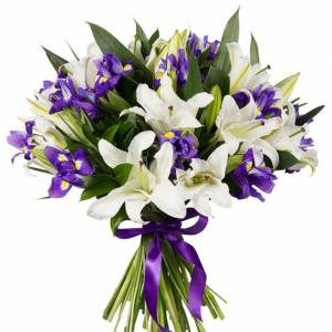 Сборный букет лилии и ирисы с лентами R726