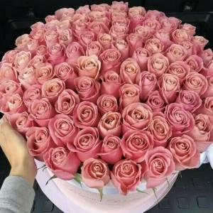 Кремовые розы в коробке R403